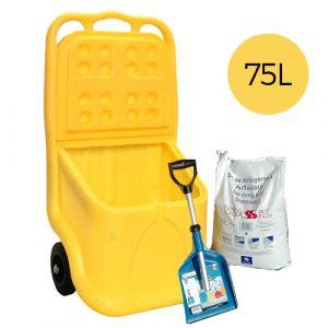 Pack déneigement : coffre 75L + pelle rétractable + sac de sel 25 L