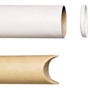 Tube en carton à bouchon plastique - 70x620 mm - Lot de 20