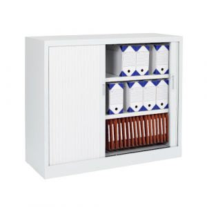 Armoire basse à rideaux verticaux - blanc