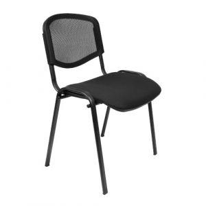 Chaise visiteur - assise tissu & dossier résille - noir