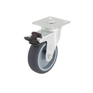 Roulette d'appareil pivotante équipée d'un frein avec platine