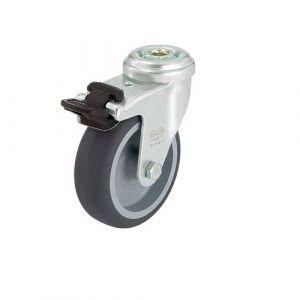 Roulette d'appareil pivotante avec frein à trou central