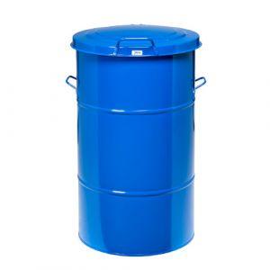 Poubelle rétro galvanisée bleue - 115 L