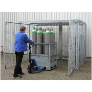 Box pour bouteilles de gaz, max. 16 bouteilles, avec toit