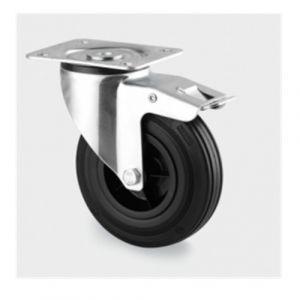 Centre de roue polypropylène , bandage : caoutchouc noir , roulements à rouleaux - avec frein