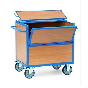 Chariot à panneau bois avec couvercle, 1130x725x1120 mm