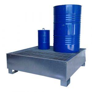 Bac de rétention galvanisé pour 4 fûts avec caillebotis Wireline®
