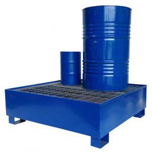 Bac de rétention laqué bleu pour 4 fûts avec caillebotis Wireline®
