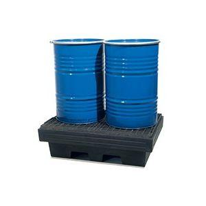 Bac de rétention à poser en plastique pour 2 fûts avec caillebotis en acier pressé