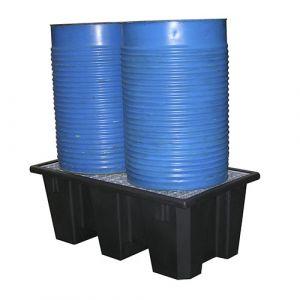 Bac de rétention en plastique 2 fûts avec 1 caillebotis en acier ou PP