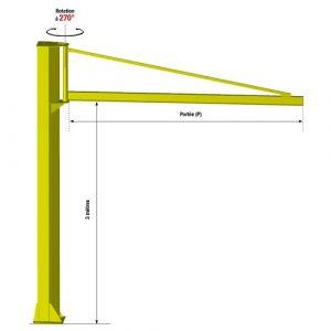 Potence sur fût triangulée - force 2000 kg