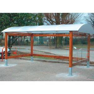 Abri cycles simple en bois avec toiture courbe