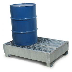 Bac de rétention galvanisé pour 2 fûts avec caillebotis Wireline®