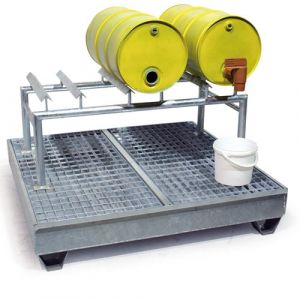 Bac de rétention galvanisé pour 4 fûts avec caillebotis électroforgés