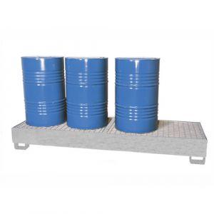 Bac de rétention galvanisé pour 4 fûts en ligne avec caillebotis pressé