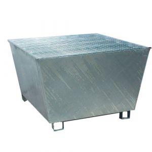 Bac de rétention galvanisé pour 1 IBC avec caillebotis Wireline®