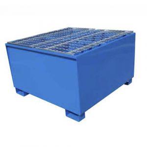 Bac de rétention laqué bleu pour 1 IBC avec caillebotis Wireline®