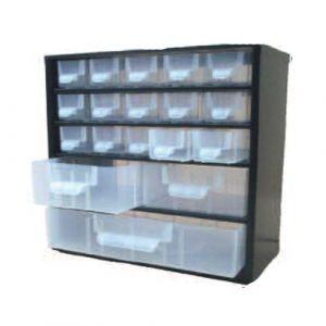 Bloc tiroirs fixe équipé de 18 tiroirs de rangement