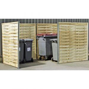 Cache-conteneurs double avec retour en bois tressé