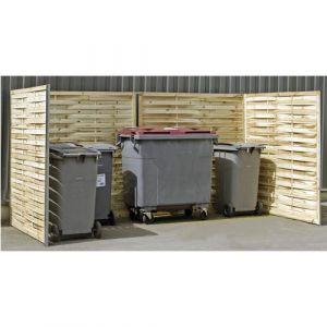 Cache-conteneurs double en bois tressé