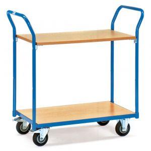 Chariot à plateaux 2 étagères en bois 850x500 mm