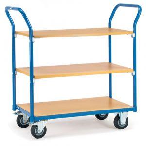 Chariot à plateaux 3 étagères en bois 850x500 mm