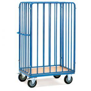 Chariot pour colis avec plateau et 3 ridelles, 1000x600x1800 mm