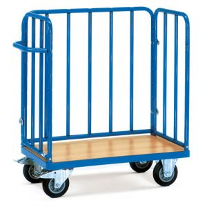 Chariot pour colis avec plateau et 3 ridelles, 850x500x1055 mm
