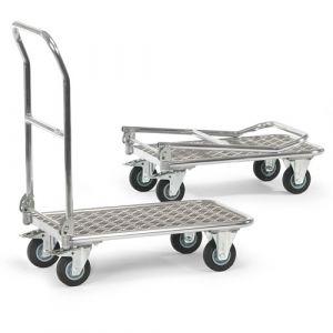 Chariot aluminium à plateau à dossier rabattable 720x450 mm