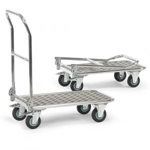 Chariot aluminium à plateau à dossier rabattable 900x600 mm