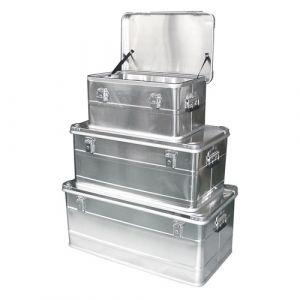 Lot de 3 coffres en aluminium avec poignées latérales