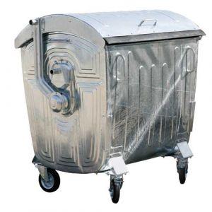 Conteneurs à déchets 4 roues 1100 L avec couvercle acier