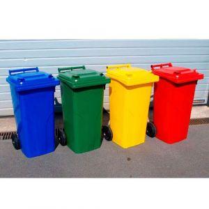 Conteneurs poubelle à déchets 2 roues de 120 litres