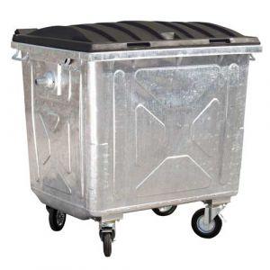 Conteneurs à déchets 4 roues en acier de 1100 L avec couvercle plastique