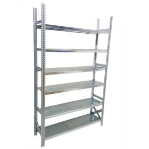 Rayonnage 6 niveaux à tablettes métalliques capacité 275 kg  1200-1500x2500 mm