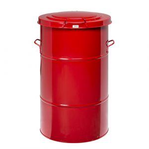 Poubelle rétro  galvanisée rouge 115L