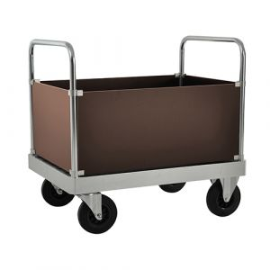 Chariot caisse avec 2 poignées - galva - avec frein - L= 1000 mm - 800 kg