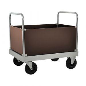 Chariot caisse ave 2 poignées - galva - avec frein - L=1200 mm- 800 kg
