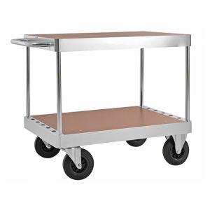 Chariot plateforme avec plateau supérieur - galva - sans frein - L= 1335 mm - 800 kg