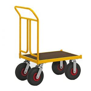 Chariot robuste laqué jaune -sans frein -2 roues pneumatique