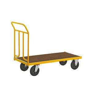 Chariot robuste laqué - jaune - avec frein - L=1020 mm - 400 kg