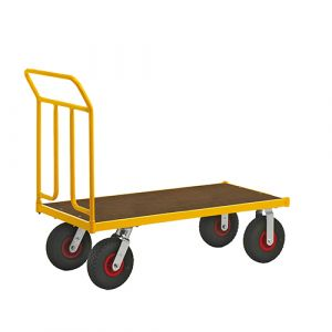 Chariot robuste laqué - jaune - sans frein - H=1090 mm - 400 kg
