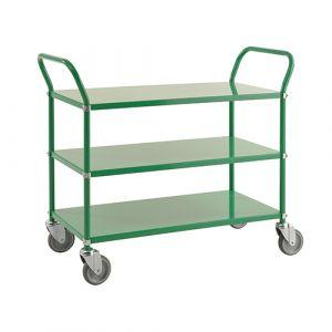 Chariot de service avec 3 tablettes - vert - avec frein - L=1080 mm - 250 kg