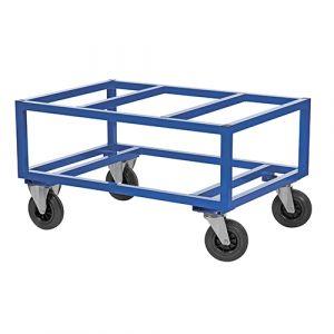 Chariot porte palette - bleu - sans frein - L= 1200 mm - 800 kg