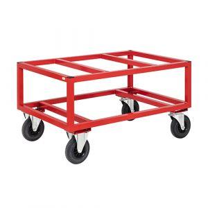 Chariot porte palette - rouge - avec frein - l= 1200 mm - 800 kg