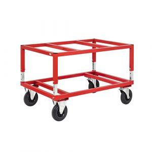 Chariot porte palette - rouge - sans frein - l=800 mm - 800 kg