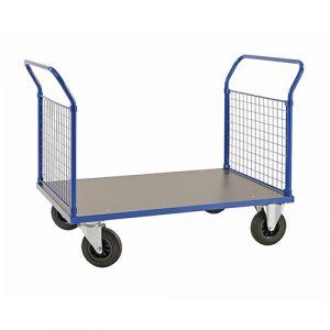 Chariot plateforme - bleu - avec frein - L = 1366 mm - 500 kg