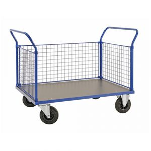 Chariot plateforme  - 3 ridelles - bleu - sans frein - L=1366 mm - 500 kg