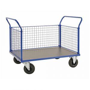 Chariot plateforme  - 3 ridelles - bleu - avec frein - L=1366 mm - 500 kg