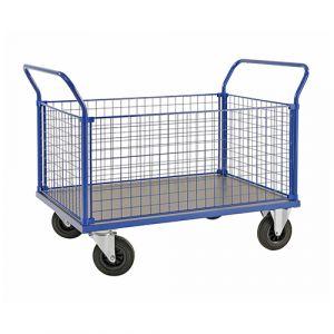 Chariot plateforme - 4 ridelles - bleu - avec frein - L=1166 mm - 500 kg